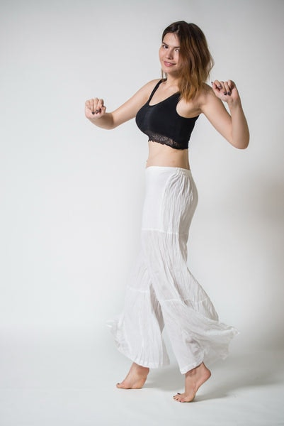 Thai Organic Cotton Palazzo Pants in White