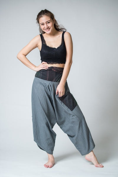 Women's Pinstripe Button Up Cotton Pants with Hill Tribe Trim Gray