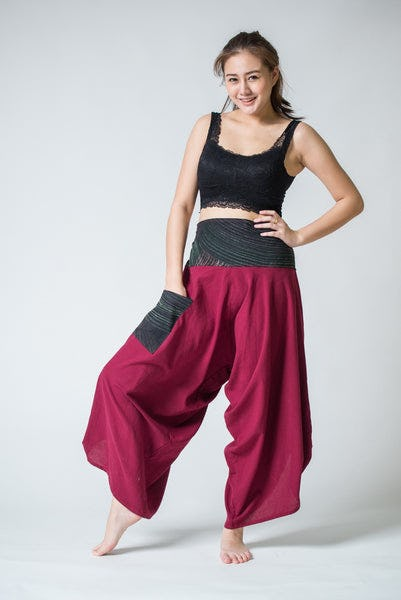 Women's Thai Button Up Cotton Pants with Hill Tribe Trim Red