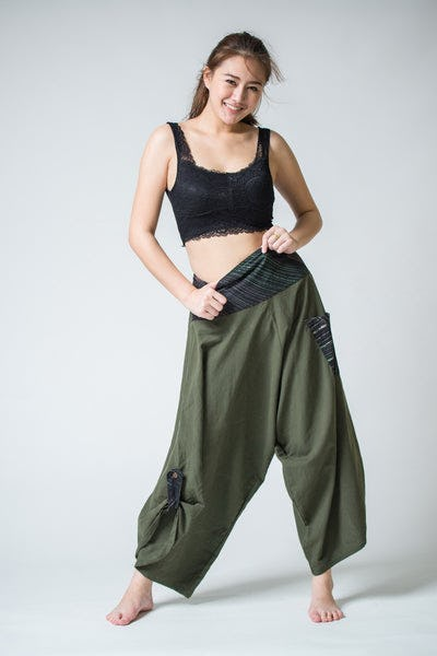 Women's Thai Button Up Cotton Pants with Hill Tribe Trim Olive