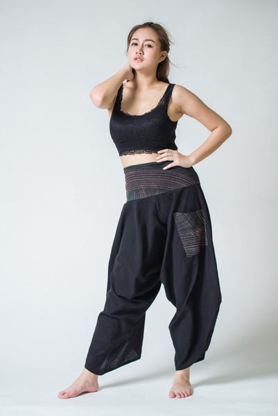 Women's Thai Button Up Cotton Pants with Hill Tribe Trim Black