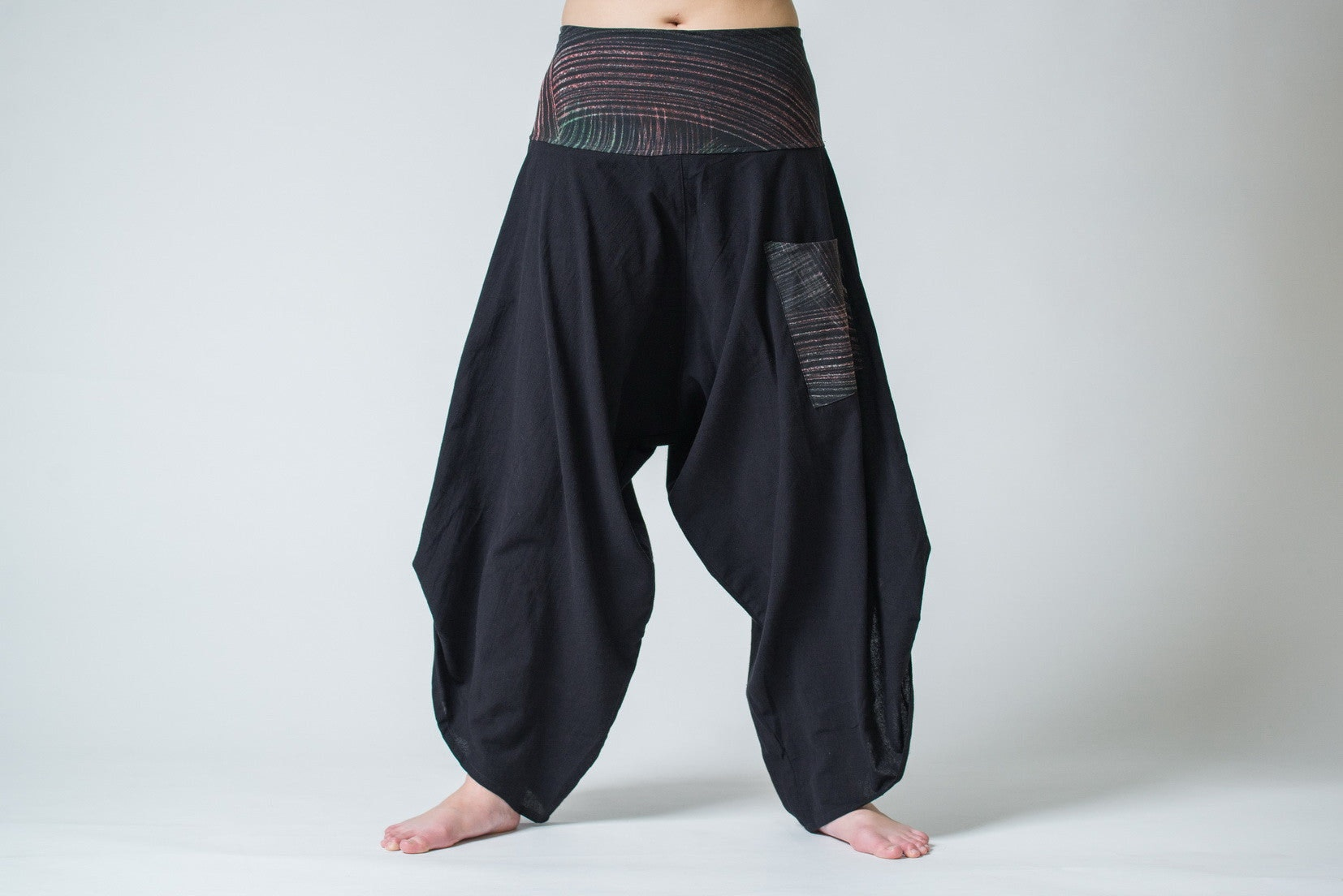 Elegant Womenu0026#39;s Thai Button Up Cotton Pants With Hill Tribe Trim Black U2013 Harem Pants
