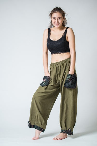 Thai Cotton Women Drawstring Pants With Hill Tribe Trim Olive