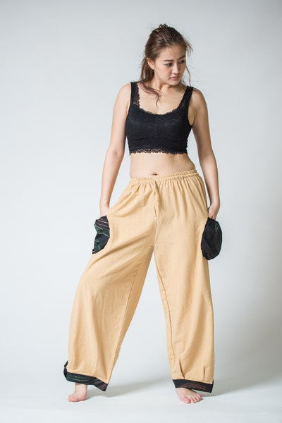 Thai Cotton Women Drawstring Pants With Hill Tribe Trim Cream