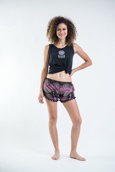 Paisley Pom Pom Shorts In Purple/Black