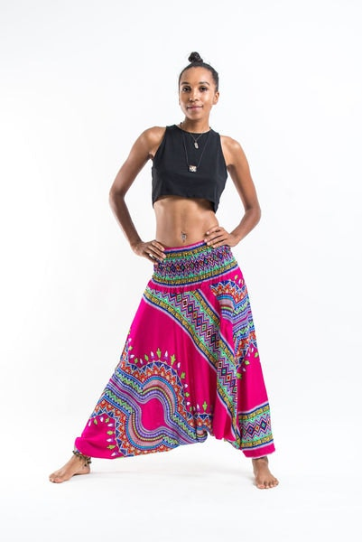 Dashiki Prints Jumpsuit Harem Pants in Pink