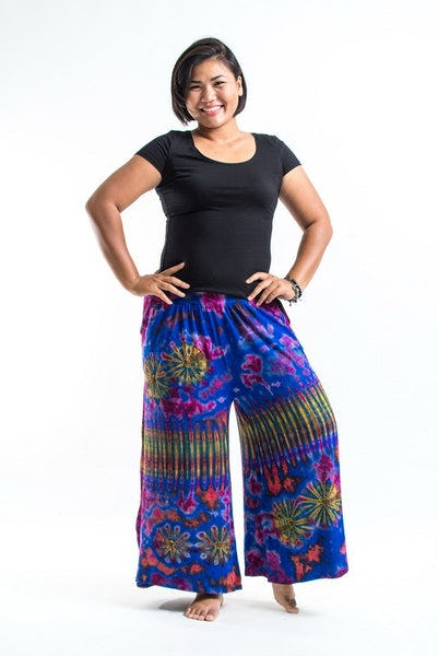 PLUS SIZE Wide Leg Palazzo Harem Pants Cotton Tie Dye Blue