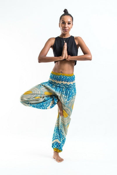 Geometric Mandalas Women's Harem Pants in Blue Gold