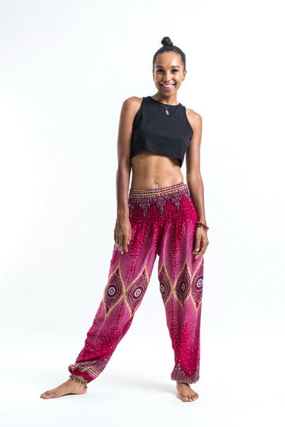 Diamond Peacock Women's Harem Pants in Red