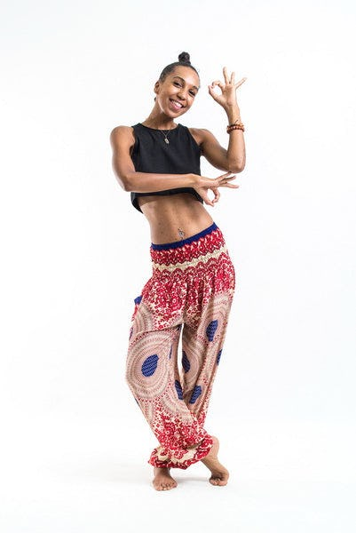 Geometric Mandalas Women's Harem Pants in Scarlet Red