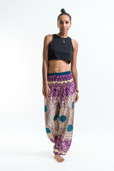 Geometric Mandalas Women's Harem Pants in Purple