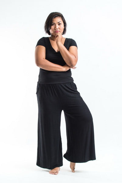 PLUS SIZE Wide Leg Palazzo Harem Pants Cotton Black