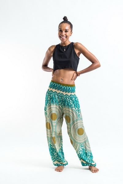 Geometric Mandalas Women's Harem Pants in Mint Green