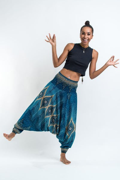 Diamond Peacock Jumpsuit Harem Pants in Turquoise