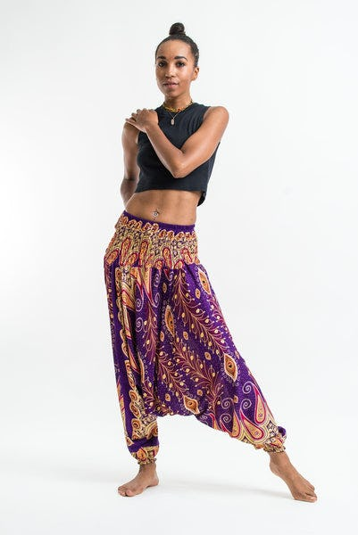 Peacock Paisley Jumpsuit Harem Pants in Purple