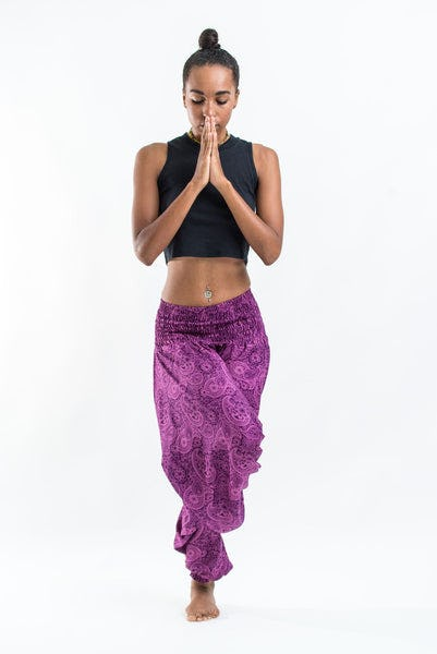 Royal Paisley Jumpsuit Harem Pants in Purple