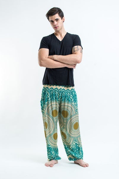 Geometric Mandalas Men's Harem Pants in Mint Green