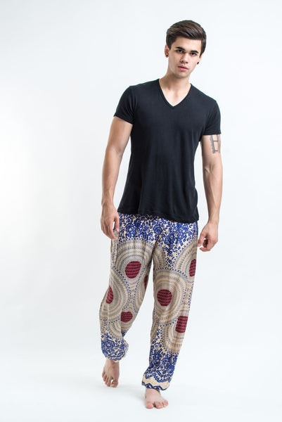 Geometric Mandalas Men's Harem Pants in Royal Blue