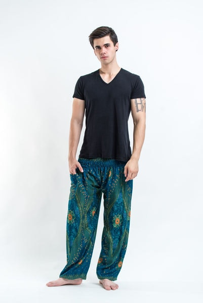 Peacock Eye Men's Harem Pants in Turquoise