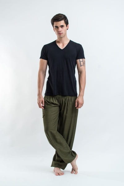Solid Color Men's Harem Pants in Green