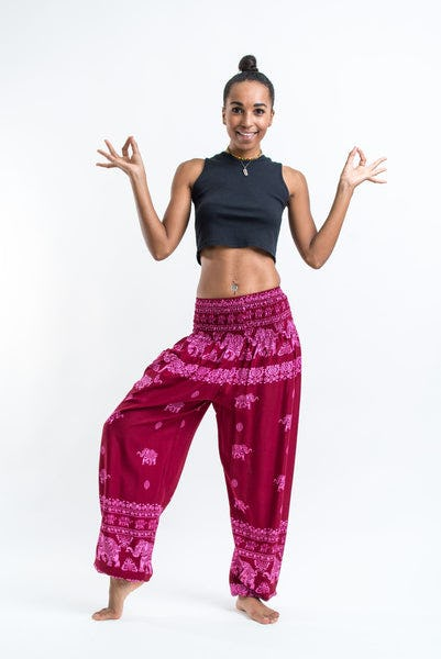 Elephant Raja Women's Harem Pants in Red