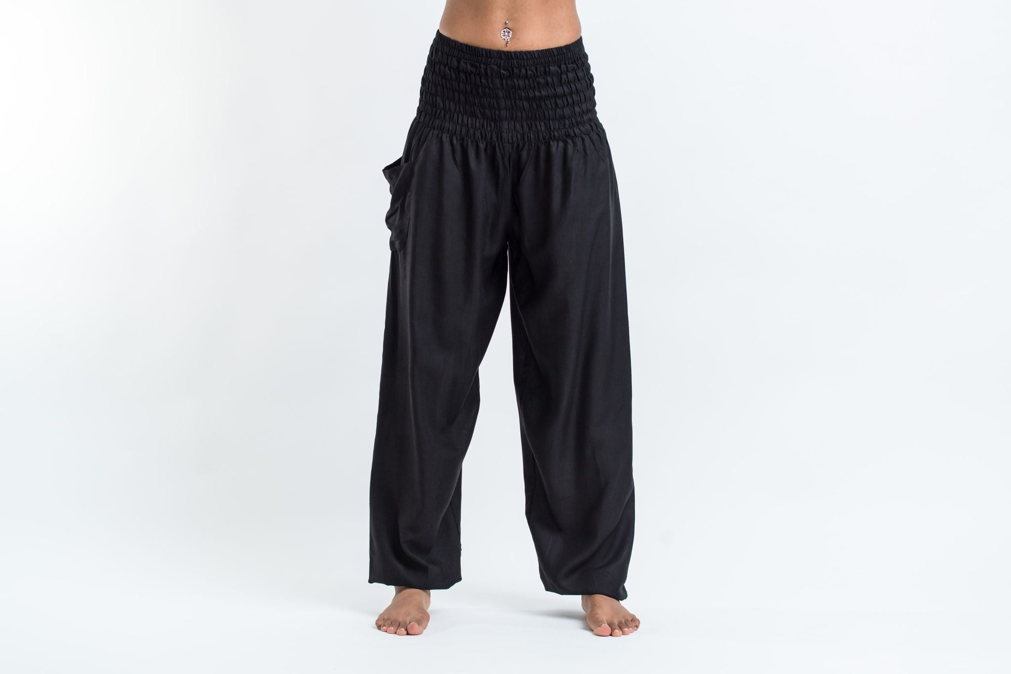 Wonderful Solid Color Womenu0026#39;s Harem Pants In Black