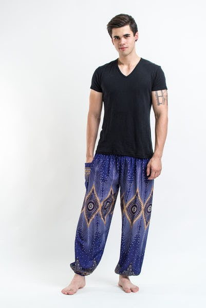 Diamond Peacock Men's Harem Pants in Blue