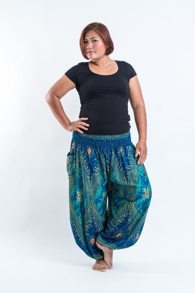 Plus Size Peacock Eye Women's Harem Pants in Turquoise