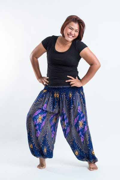 Plus Size Peacock Eye Women's Harem Pants in Blue