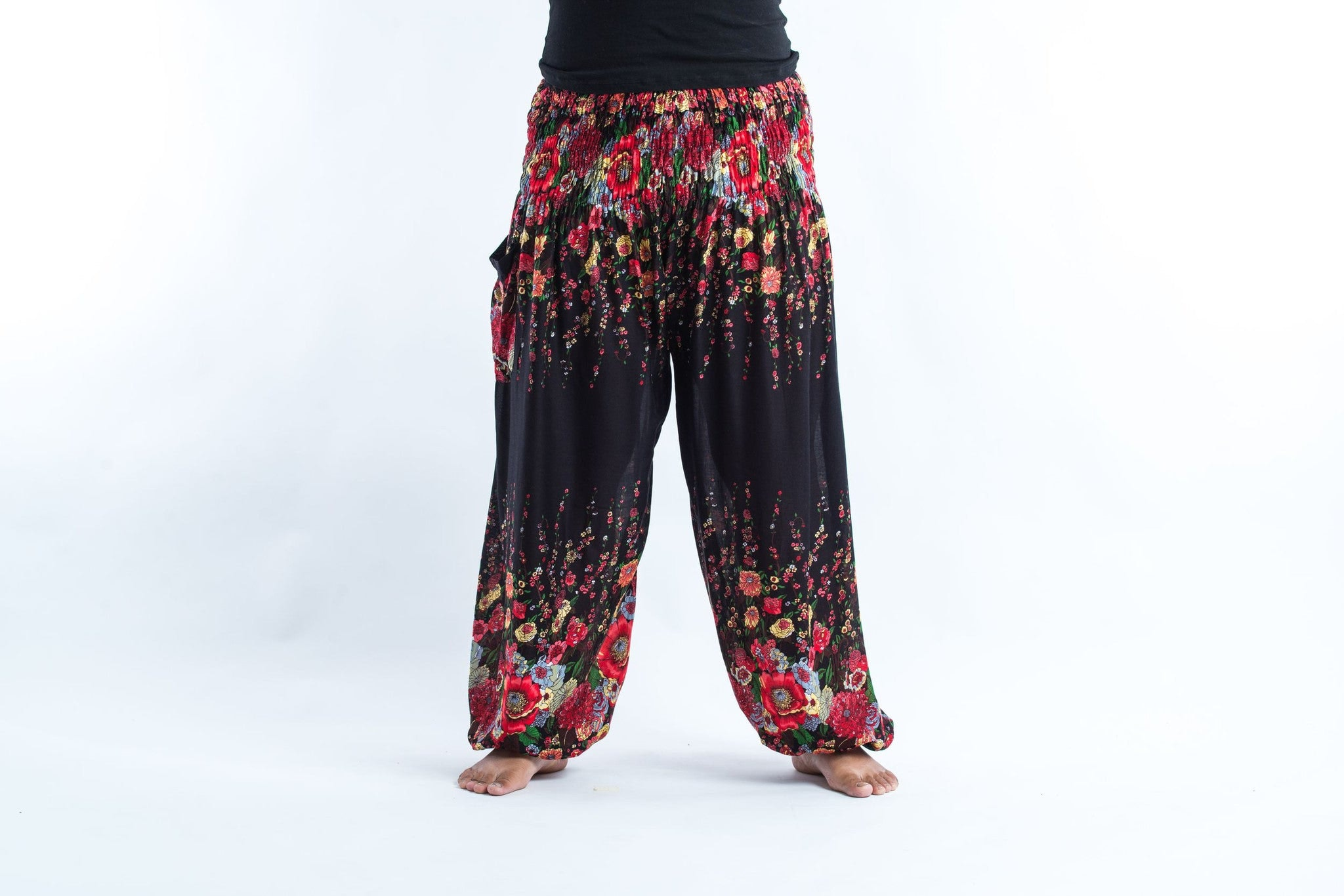 Luxury Plus Size Floral Womenu0026#39;s Harem Pants In Black
