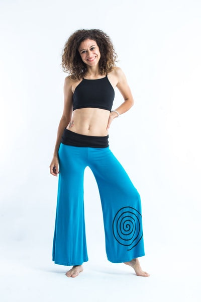 Wide Leg Palazzo Harem Pants Cotton Spandex Printed Spiral Blue