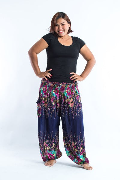 Plus Size Floral Women's Harem Pants in Blue