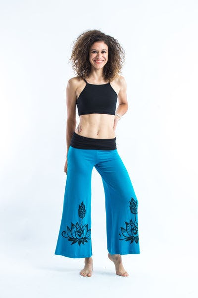 Wide Leg Palazzo Harem Pants Cotton Spandex Printed Om Bloom Blue
