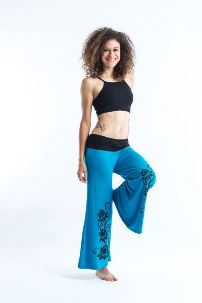 Wide Leg Palazzo Harem Pants Cotton Spandex Printed 3 Lotus Blue