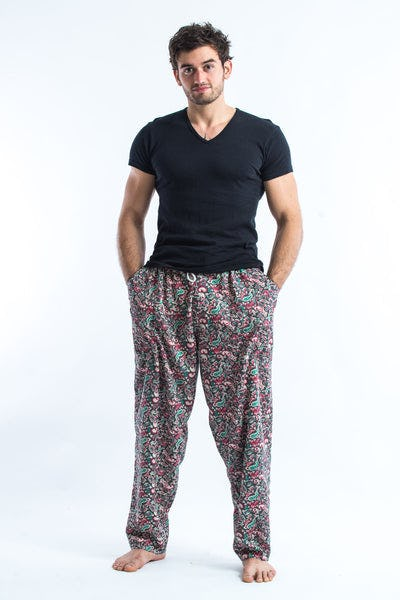 Thai Organic Cotton Paisley Green Men's Drawstring Pants