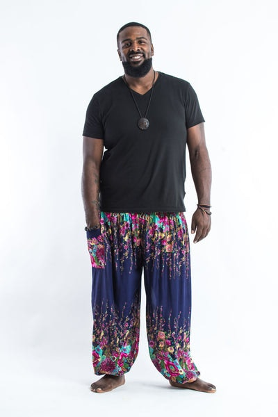 Plus Size Floral Men's Harem Pants in Blue