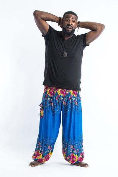 Plus Size Floral Men's Harem Pants in Ocean Blue