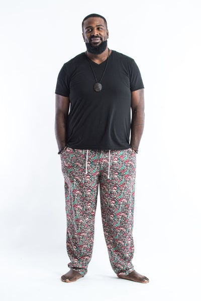 PLUS SIZE Thai Organic Cotton Paisley Green Men's Drawstring Pants