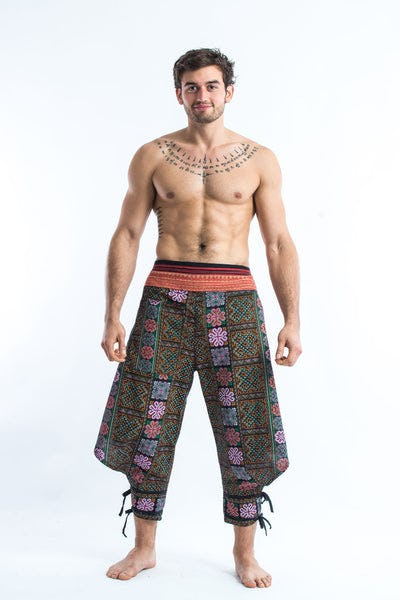 Clovers Thai Hill Tribe Fabric Men Harem Pants with Ankle Straps in Spring Brass