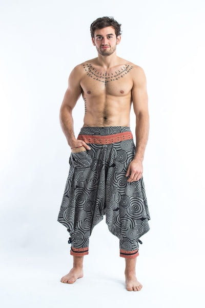 Swirls Prints Thai Hill Tribe Fabric Men's Harem Pants with Ankle Straps in Gray