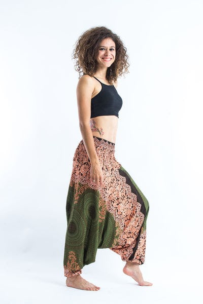 Geometric Mandalas Jumpsuit Harem Pants in Olive