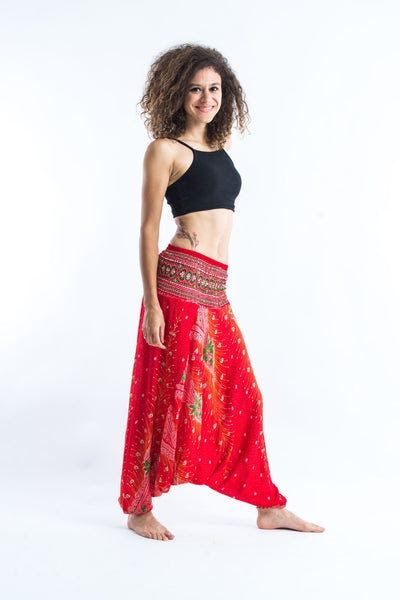 Peacock Feather Jumpsuit Harem Pants in Paradise Red