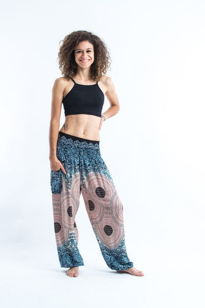 Geometric Mandalas Women's Harem Pants in Silver Gray