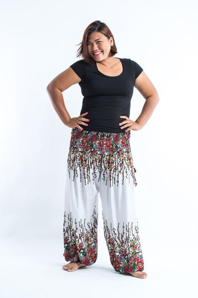 Plus Size Floral Women's Harem Pants in White