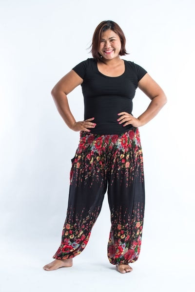 Plus Size Floral Women's Harem Pants in Black