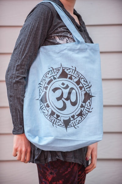 Recycled Cotton Canvas Shopping Tote Bag Ohm Light Blue