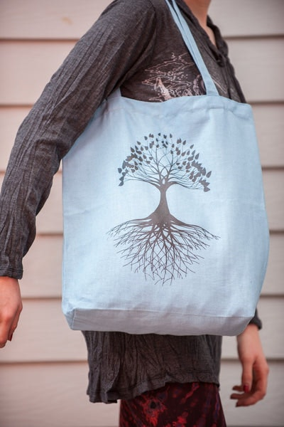 Recycled Cotton Canvas Shopping Tote Bag Tree of Life Light Blue