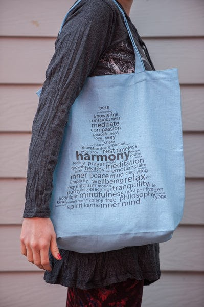 Recycled Cotton Canvas Shopping Tote Bag Harmony Light Blue