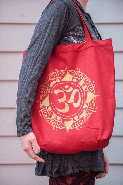Recycled Cotton Canvas Shopping Tote Bag Ohm Red