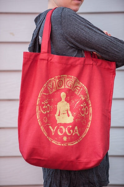 Recycled Cotton Canvas Shopping Tote Bag Yoga Red